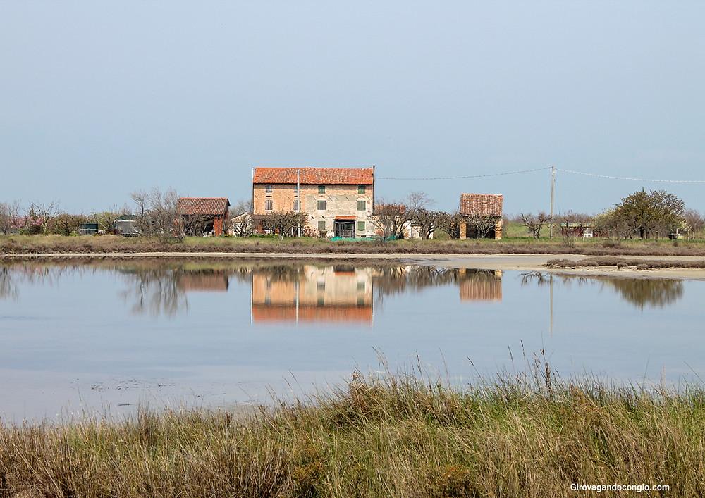 Vecchie cascine riflesse nella laguna veneta , Lio Piccolo