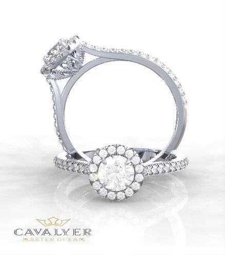 טבעת אירוסין דגם פרח עגול