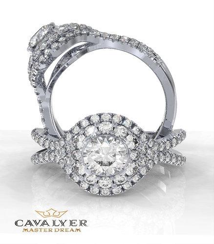 טבעת סוליטר בשילוב אבני צד HALO 18