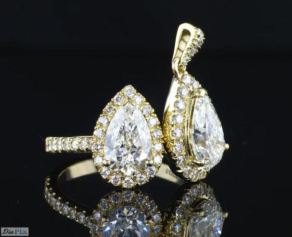 סט טבעת ותיליון יהלום