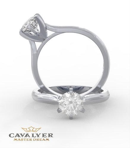 טבעת סוליטר בשילוב אבני צד  CLS12