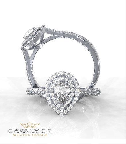 טבעת אירוסין  עם יהלום בחיתוך טיפה