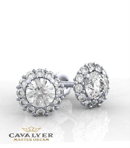 עגילי יהלומים בשילוב אבני צדE-10