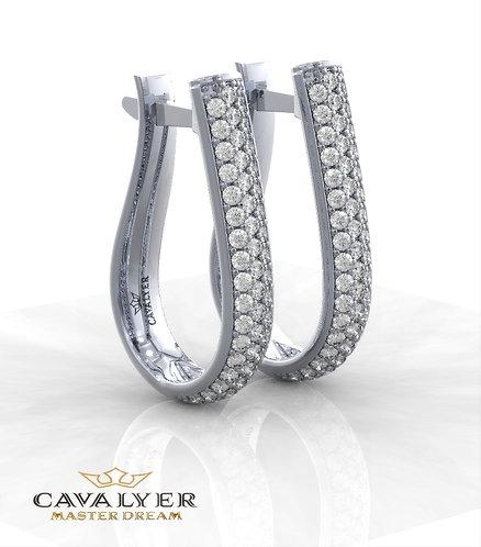 עגילי יהלומים בשילוב אבני צד E-1