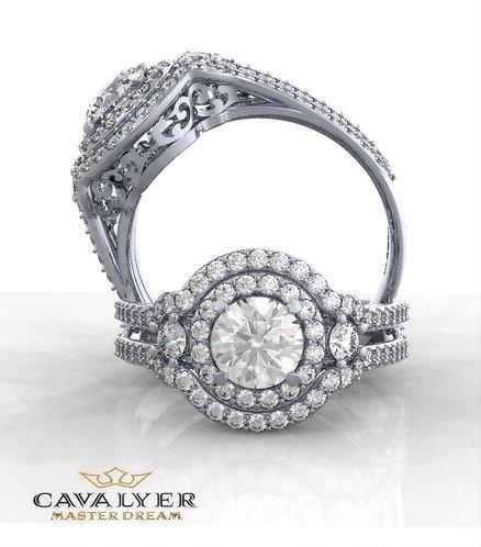 טבעת סוליטר בשילוב אבני צד HALO 19