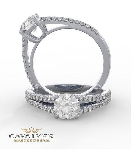 טבעת סוליטר בשילוב אבני צד SDST 2   8499