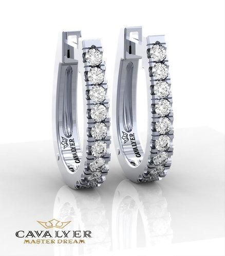 E-5 עגילי יהלומים בשילוב אבני צד