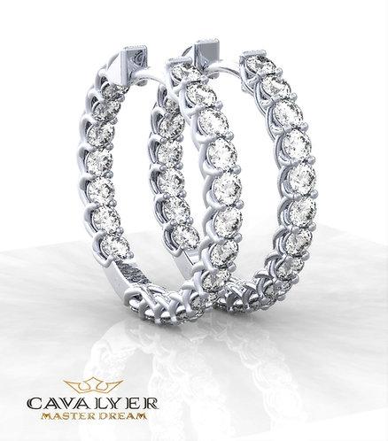 עגילי יהלומים בשילוב אבני צדE-7