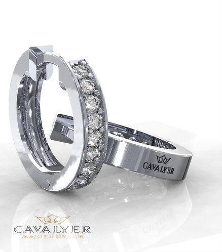 "E-20 עגילי יהלומים דגם גי'פסי 12 מ""מ"