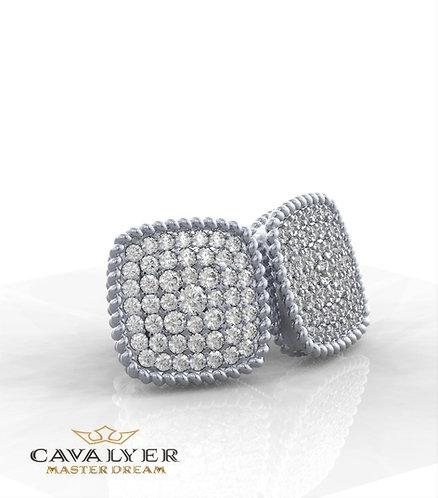 עגילי יהלומים בשילוב אבני צדE-2