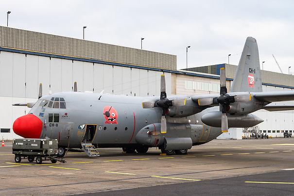 A C-130 Hercules transport aircraft of the Belgian Air Force.