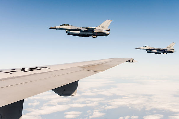 Two F-16 fighter jets of the Royal Netherlands Air Force.