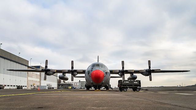 A C-130 Hercules transport aircraft of the Belgian Air Force at the Melsbroek Air Base.