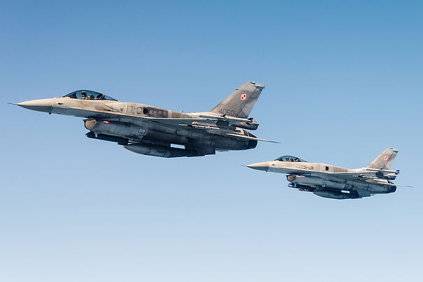 Two Polish F-16 fighter jets.