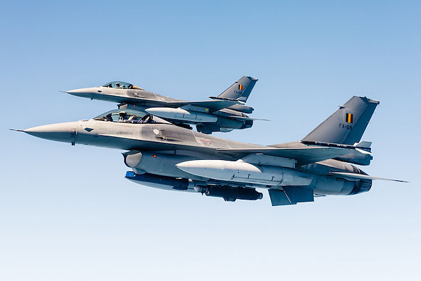 Two Belgian F-16 fighter jets.