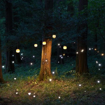 star piece 「TOT」広告ビジュアル 木工作家の湊氏の工房がある青葉の森にて撮影「TOT」を木の枝に吊るし多重露出撮影を用いてメンバー全員でペンライトの光を照らしシャッターを「開ける」「閉じる」を何度も繰り返す。 写真はまるで異世界のような空気を作り上げました。もの作りは目に見えないけれどもたくさんの人で成り立っている。 ペンライトの光だけが写真に定着し姿は写らないけれどその場に存在するメンバーの行為で表現。