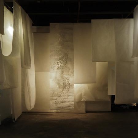 「washi life exhibition kyoto」築100年になる京都町家での展示。様々な和紙を使ったインスタレーションや伝統工芸士の永井氏の襖絵など場所の良さを活かしながらの和紙の新しい提案空間。