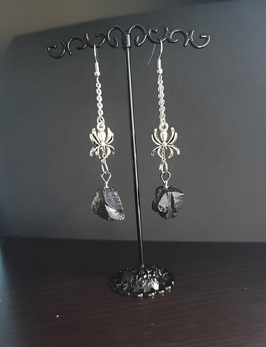 Black Tourmaline Earrings with Spider Charms