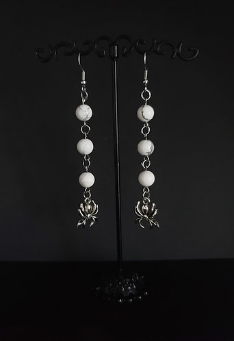 Howlite Earrings With Spider Charm