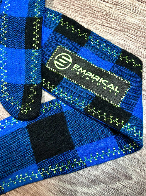Blue Plaid Headband - Green Stitching
