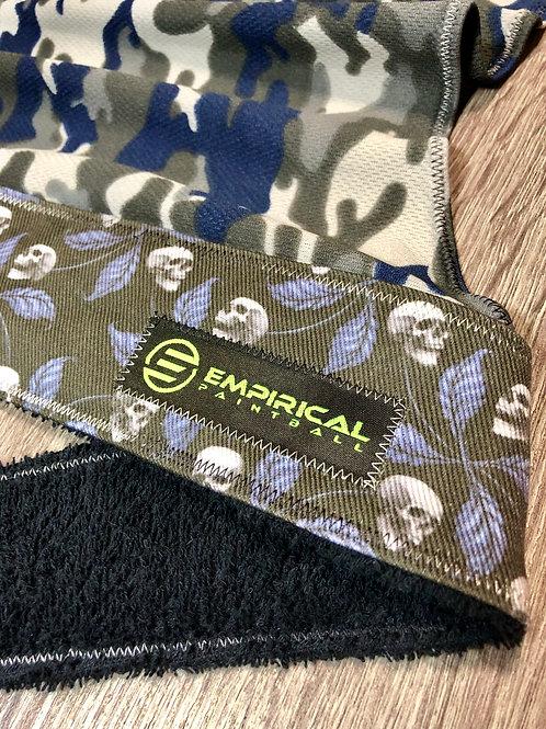 Blue Skull Leaf Legend Headwrap - White and Black Fade Stitching