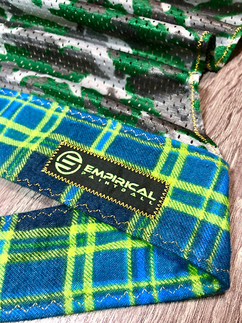 Blue & Lime Plaiditude Headwrap - Gold Stitching