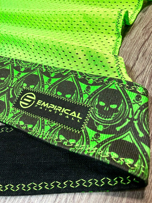 Green Skull Drop Headwrap - Green Stitching