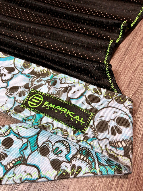 Blue Skull Pile Headwrap - Green Stitching