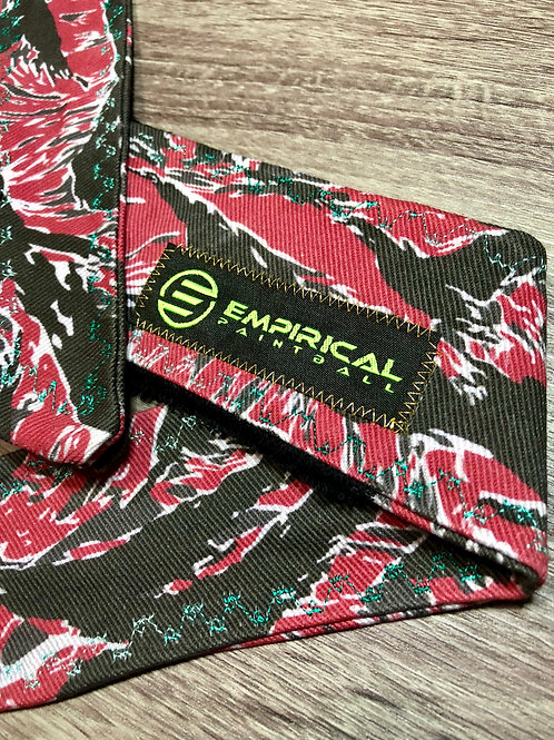 Empirical Paintball - Red Tiger Stripe Headband - Blue Fade Stitching - Main