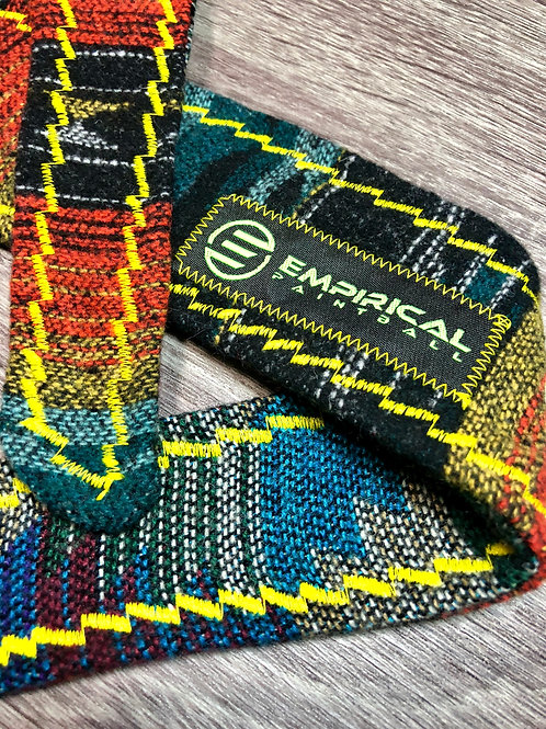 Empirical Paintball - Aztec Orange & Blue Sweater Headband - Yellow Stitching - Main