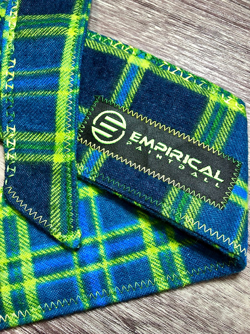 Blue & Lime Plaiditude Headband - Forest Fade Stitching