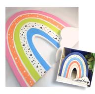 Boho Wooden Rainbow Plaque / Shelf Sitter - $35