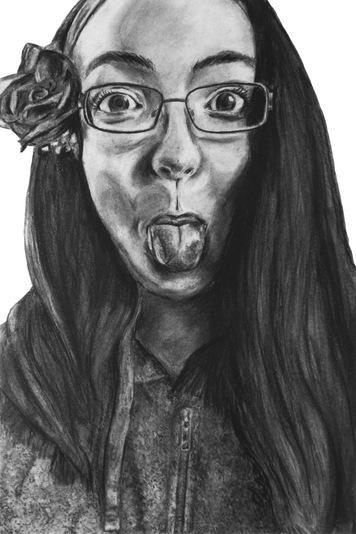 54x26 charcoal and graphite illustration of a personal selfie