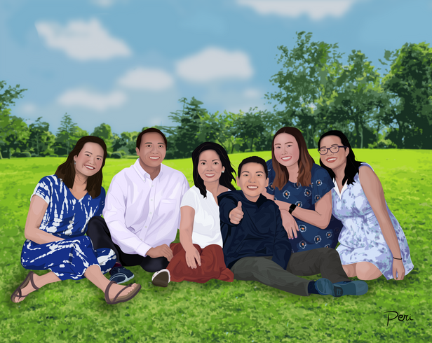 Commissioned Family Portrait-- Adobe Illustrator