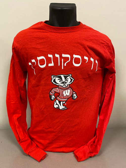 "Bucky Badger Long Sleeve Hebrew ""Wisconsin"""