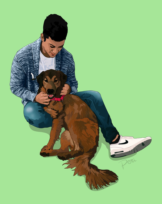 Commissioned Dog and Owner Graphic-- Adobe Illustrator