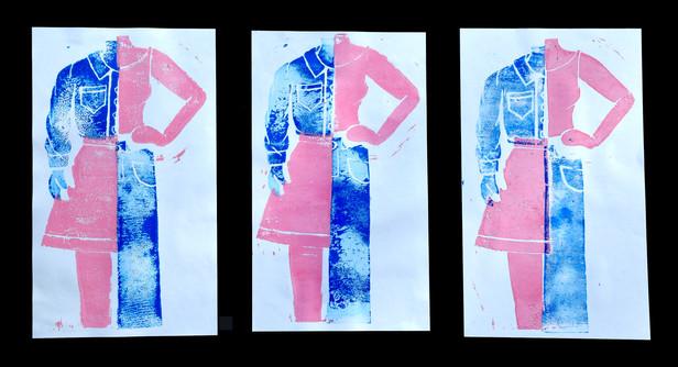 12x20 linolium print using acylic paint