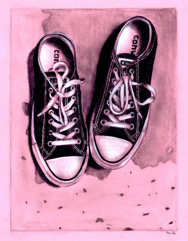 8.5x11 pencil and white color pencil drawing of Converse