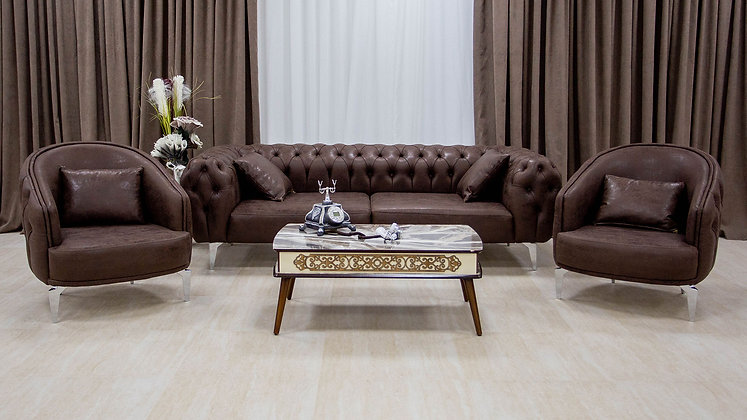 Set Canapea Bronx Leather Chocolate Brown