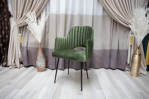Scaun Tapițat cu Picioare Metalice Catifea Verde