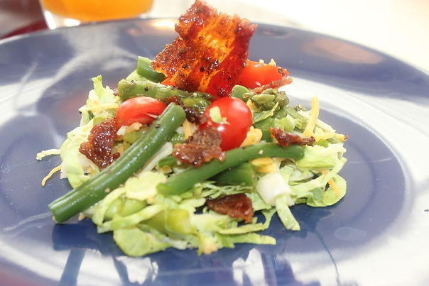 Brussel Sprout Salad w/ Candied Bacon