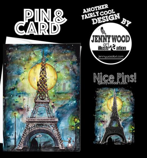 Paris card and pin $12