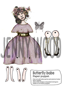 Butterfly babe puppet card