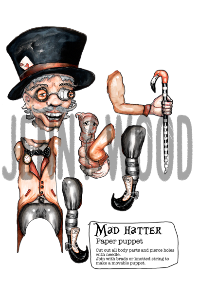 Mad hatter puppet card