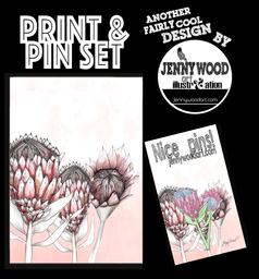 Protea pin and print set