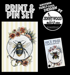 Bee A4 print and pin $18