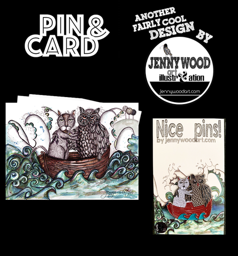 Owl and cat pin and card $12