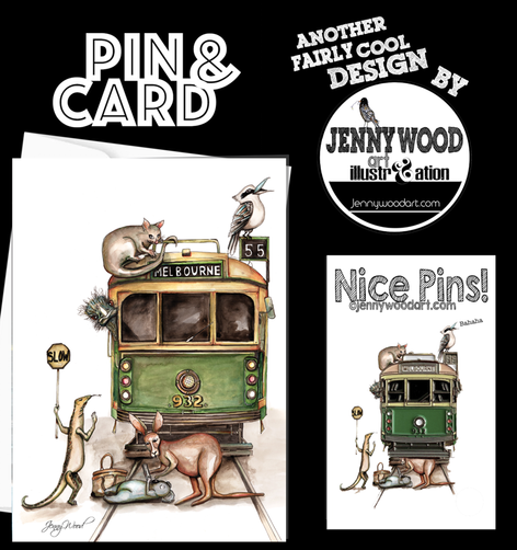 Melbourne tram pin and card $12