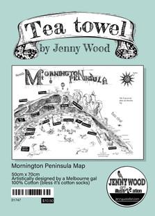 Mornington Peninsula Map tea towel (cotton)