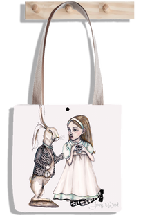 Alice and hare tote bag
